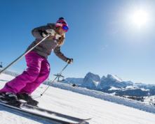 Winter auf der Seiser Alm in den Dolomiten